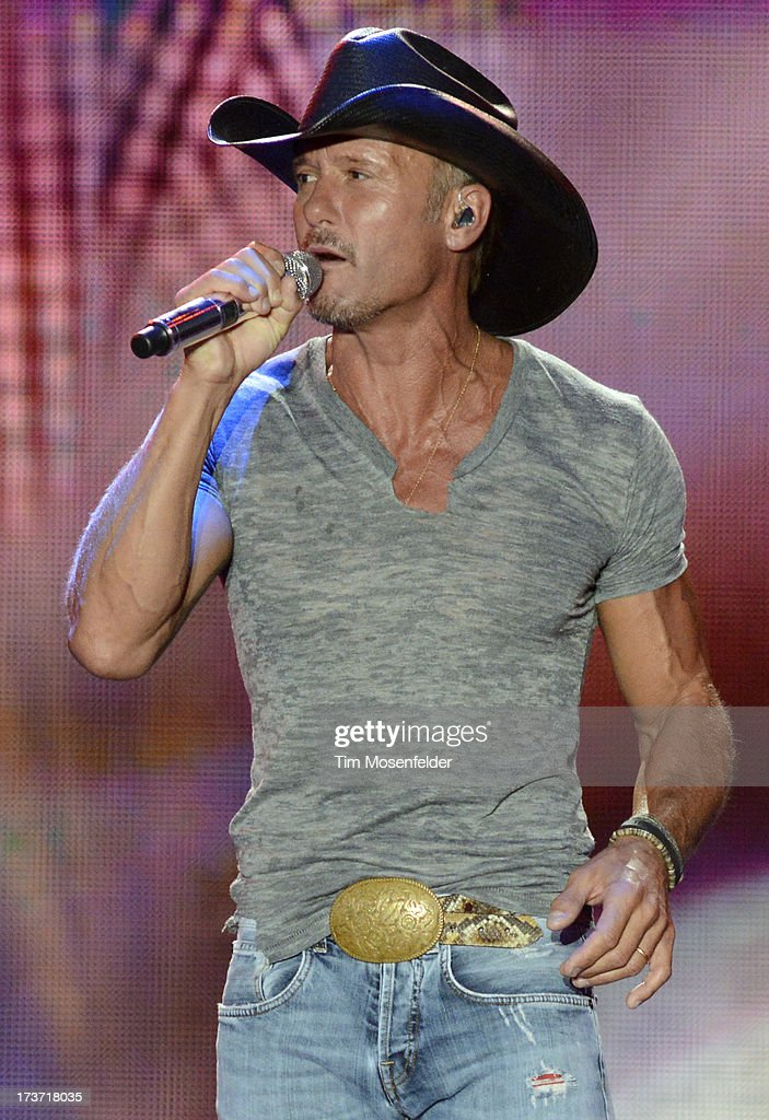 <a gi-track='captionPersonalityLinkClicked' href=/galleries/search?phrase=Tim+McGraw&family=editorial&specificpeople=202845 ng-click='$event.stopPropagation()'>Tim McGraw</a> performs part of his Two Lanes of Freedom Tour at the Lake Tahoe Outdoor Arena at Harveys on July 16, 2013 in Stateline, Nevada.