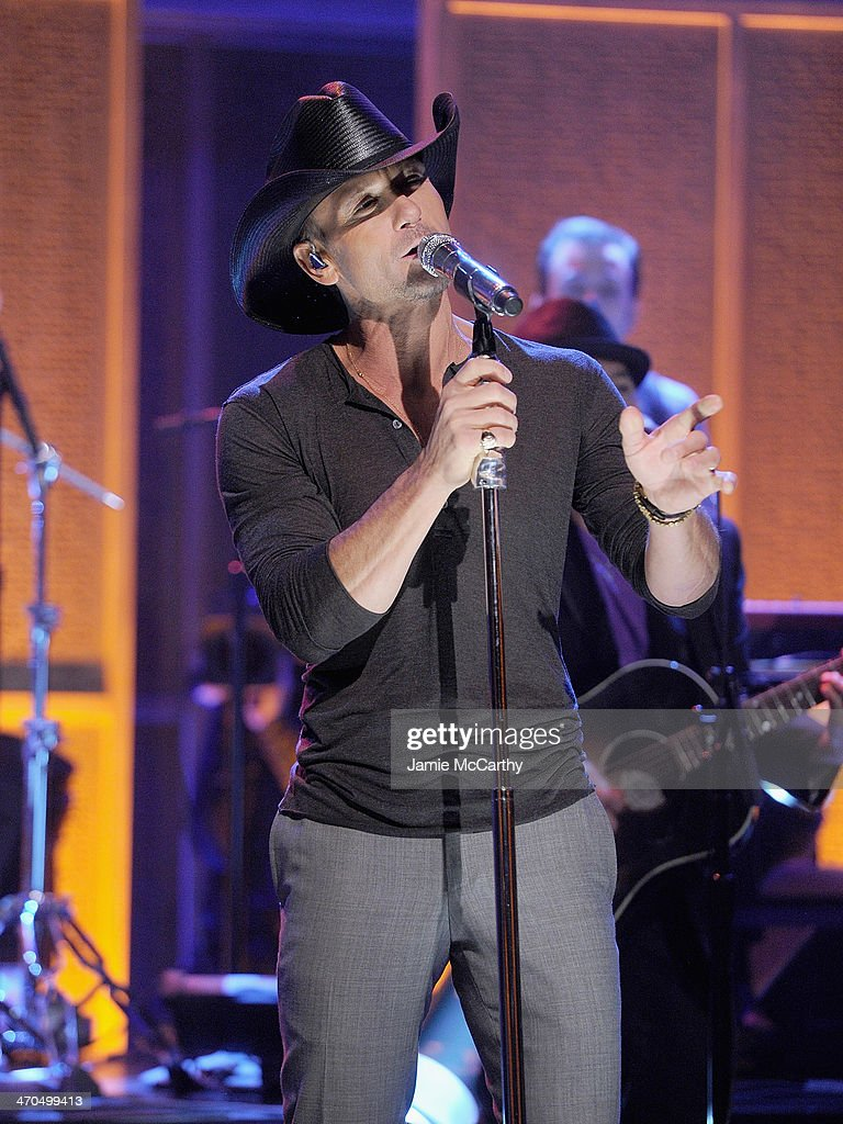 <a gi-track='captionPersonalityLinkClicked' href=/galleries/search?phrase=Tim+McGraw&family=editorial&specificpeople=202845 ng-click='$event.stopPropagation()'>Tim McGraw</a> performs 'The Tonight Show Starring Jimmy Fallon' at Rockefeller Center on February 19, 2014 in New York City.