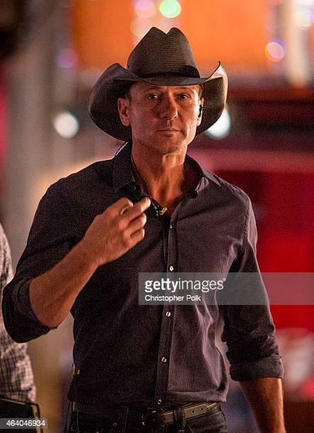 Tim McGraw rehearses for the 2015 Oscars at the Dolby Theatre at Hollywood and Highland at Hollywood and Highland on February 20 2015 in Hollywood...