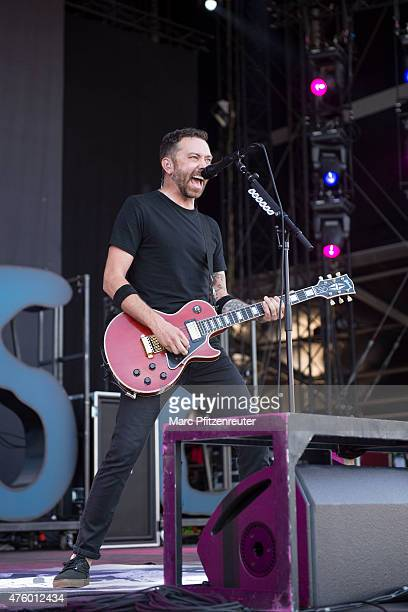 Tim McIlrath of Rise Against performs on stage during the first day of 'Rock am Ring' at the Flugplatz Mendig on June 5 2015 in Mendig Germany