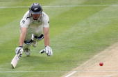 Tim McIntosh of New Zealand avoids a runout during day two of the Third Test match between New Zealand and Pakistan at McLean Park on December 12...