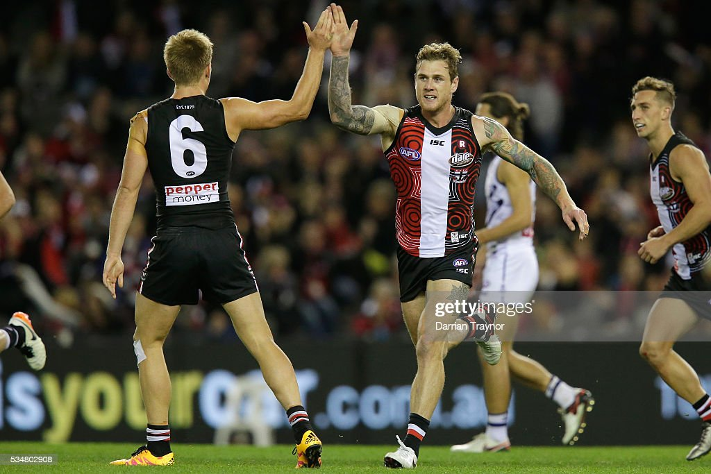 Tim Membrey of the Saints celebrates a goal during the round 10 AFL match between the St Kilda Saints and the Fremantle Dockers at Etihad Stadium on May 28, 2016 in Melbourne, Australia.