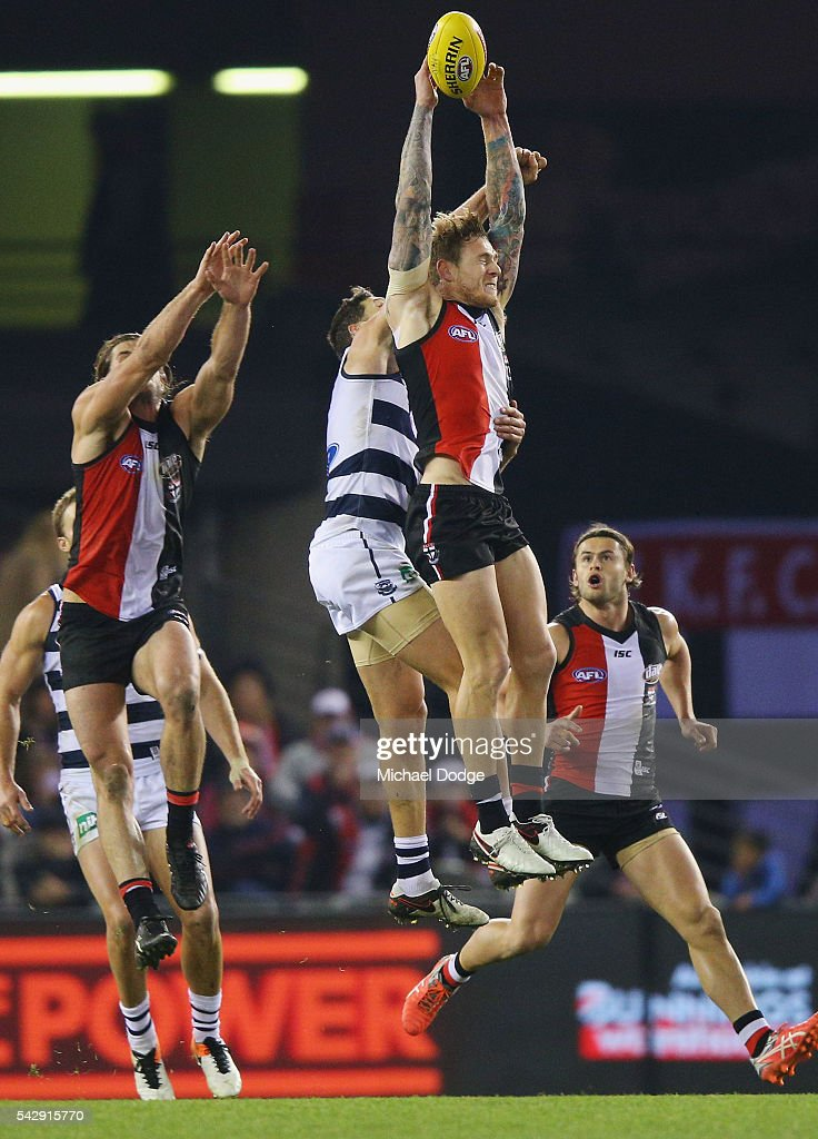 Tim Membrey of the Saints competes for the ball during the round 14 AFL match between the St Kilda Saints and the Geelong Cats at Etihad Stadium on June 25, 2016 in Melbourne, Australia.