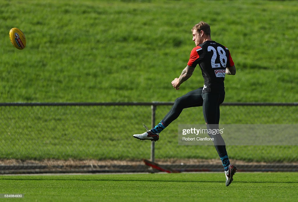 Tim Membrey of the Saints kicks the ball during a St Kilda Saints AFL training session at Moorabbin Oval on May 27, 2016 in Melbourne, Australia.