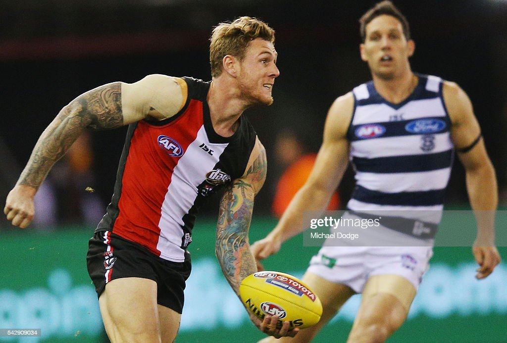 Tim Membrey of the Saints looks upfield during the round 14 AFL match between the St Kilda Saints and the Geelong Cats at Etihad Stadium on June 25, 2016 in Melbourne, Australia.