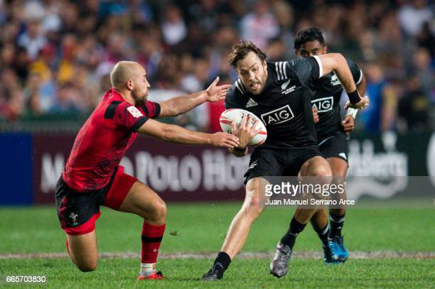 Tim Mikkelson of New Zealand competes during the 2017 Hong Kong Sevens match between New Zealand and Wales at Hong Kong Stadium on April 7 2017 in...