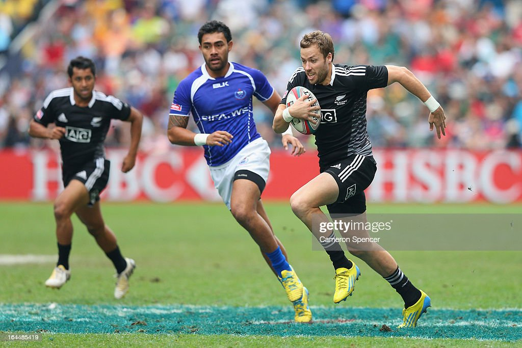 Tim Mikkelson of New Zealand makes a break during the Cup Quarter Final match between New Zealand and Samoa during day three of the 2013 Hong Kong Sevens at Hong Kong Stadium on March 24, 2013 in So Kon Po, Hong Kong.