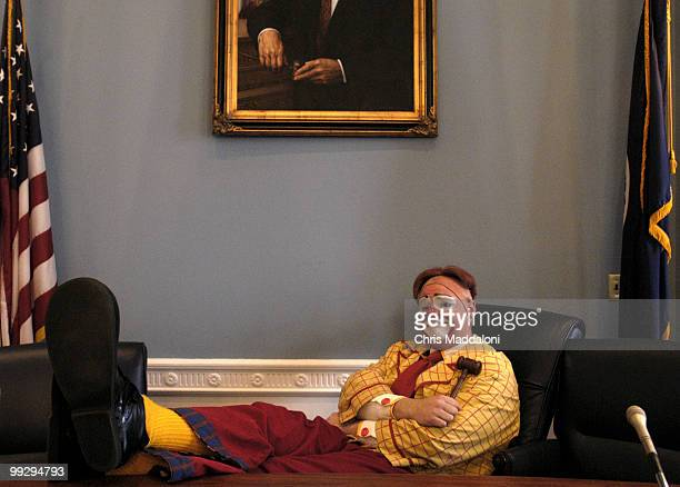 Tim Miller a clown with the RIngling Bros Barnum Bailey Circus takes over the Chairman's seat of the Committee on Agriculture at 1300 Longworth House...