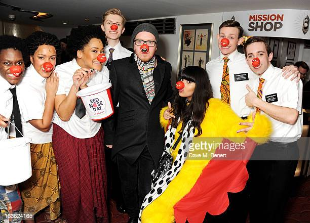 Tim Minchin and Jameela Jamil pose with cast at a gala performance of 'The Book Of Mormon' in aid of Red Nose Day at the Prince Of Wales Theatre on...