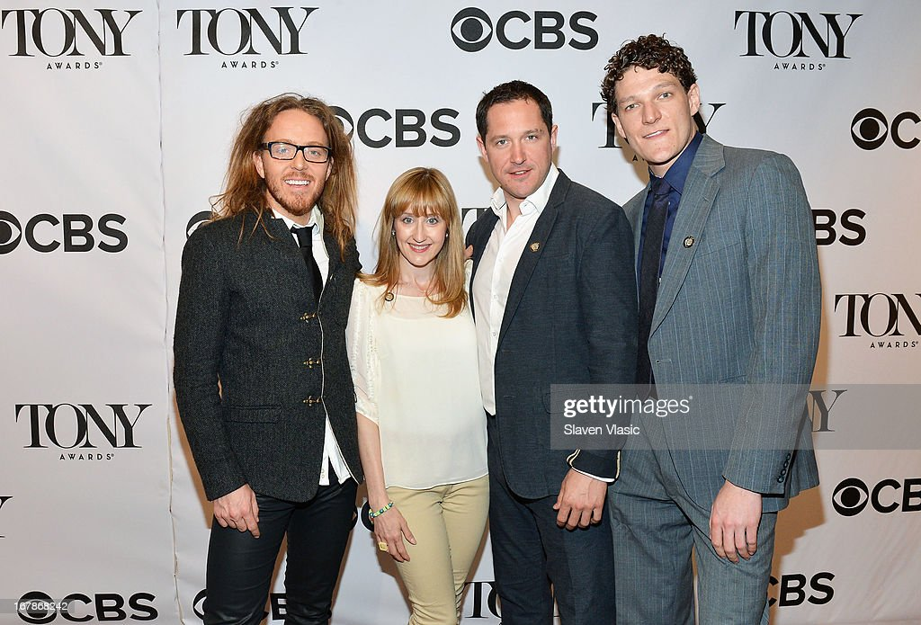 <a gi-track='captionPersonalityLinkClicked' href=/galleries/search?phrase=Tim+Minchin&family=editorial&specificpeople=2244352 ng-click='$event.stopPropagation()'>Tim Minchin</a>, Lauren Ward, Bertie Carvel and Gabriel Ebert of 'Matilda the Musical' attend 2013 Tony Awards: The Meet The Nominees Press Junket at the Millenium Hilton on May 1, 2013 in New York City.