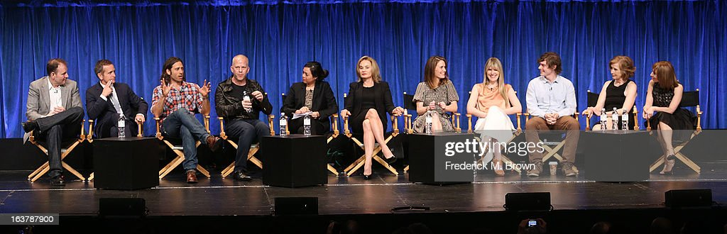 Tim Minear, Dante Di Loreto, Brad Falchuk, Ryan Murphy, Denise Martin, Jessica Lange, Sarah Paulson, Lily Rabe, Evan Peters, Frances Conroy, and Naomi Grossman speak during The Paley Center For Media's PaleyFest 2013 Honoring 'American Horror Story: Asylum' at the Saban Theatre on March 15, 2013 in Beverly Hills, California.