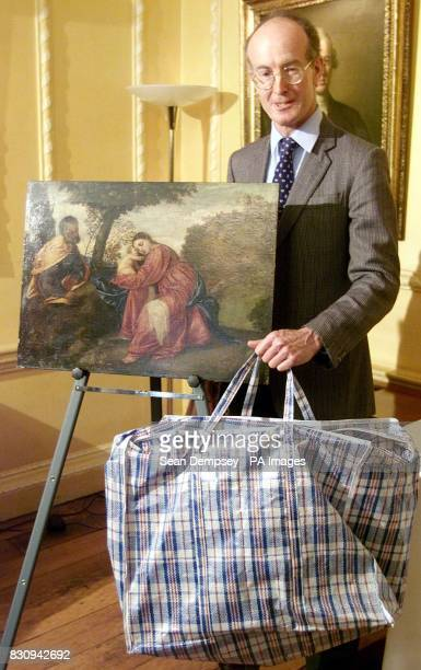 Tim Moore General Manager of Lord Bath's Longleat Estate with the 16th century painting by Venetian artist Titian which was stolen from the country...