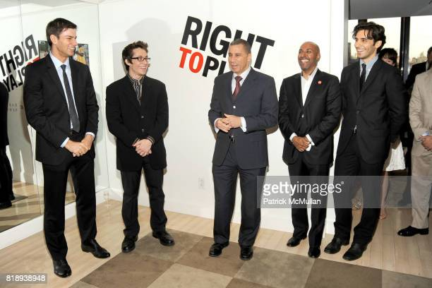 Tim Morehouse Matt Doyle Governor David Paterson Jeffrey Orridge and Jason Rogers attend RIGHT TO PLAY 'En Garde' Charity Cocktail Party at Barneys...