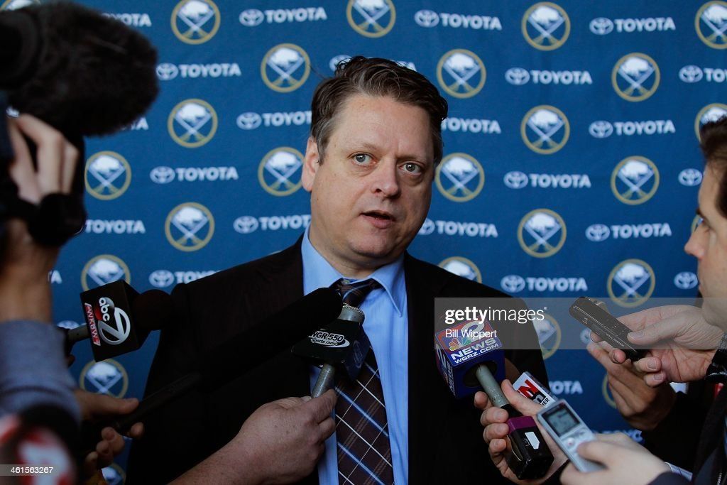 Tim Murray speaks at a media conference introducing him as the new general manager of the Buffalo Sabres on January 9, 2014 at the First Niagara Center in Buffalo, New York.