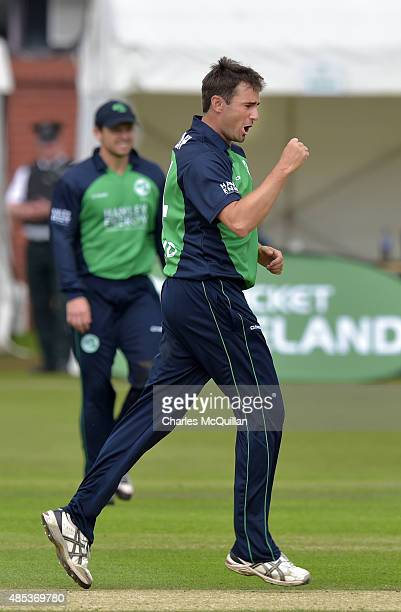 Tim Murtagh of Ireland celebrates after taking the wicket of George Bailey during the ODI cricket game between Ireland and Australia at Stormont...
