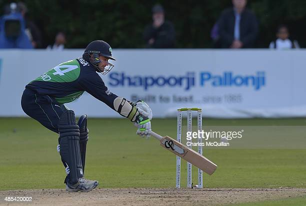 Tim Murtagh of Ireland during the ODI cricket game between Ireland and Australia at Stormont cricket ground on August 27 2015 in Belfast Northern...