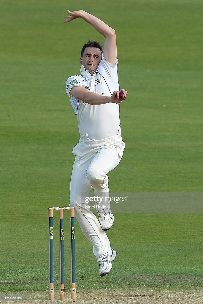 Tim Murtagh of Middlesex bowls during day two of the LV County Championship Division One match between Yorkshire and Middlesex at Headingley Stadium on September 18, 2013 in Leeds, England.