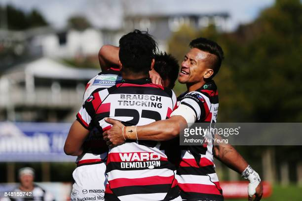 Tim NanaiWilliams of Counties Manukau celebrates with teammate Johnathan Kawau for his try during the round five Mitre 10 Cup match between Counties...