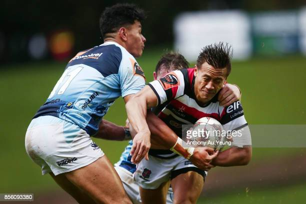 Tim NanaiWilliams of Counties Manukau scores a try against Solomon Alaimalo of Northland during the round seven Mitre 10 Cup match between Counties...