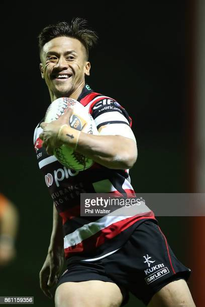 Tim NanaiWilliams of Counties runs in for a try during the round nine Mitre 10 Cup match between Counties Manukau and Tasman at ECOLight Stadium on...