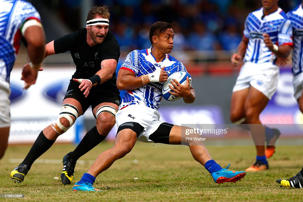 Tim NanaiWilliams of Manu Samoa in action during the International Test match between Samoa and the New Zealand All Blacks at Apia Stadium on July 8...