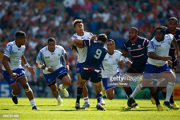Tim NanaiWilliams of Samoa is tackled by Mike Petri of the United States during the 2015 Rugby World Cup Pool B match between Samoa and USA at...