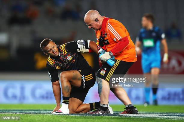 Tim NanaiWilliams of the Chiefs lies injured during the round 14 Super Rugby match between the Blues and the Chiefs and Eden Park on May 26 2017 in...