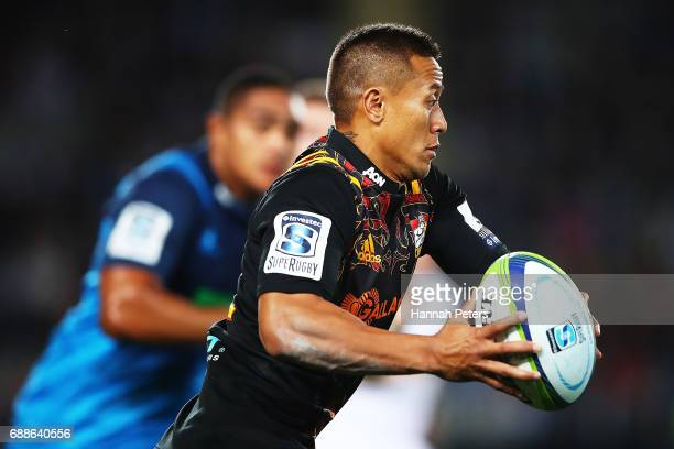 Tim NanaiWilliams of the Chiefs makes a break during the round 14 Super Rugby match between the Blues and the Chiefs and Eden Park on May 26 2017 in...