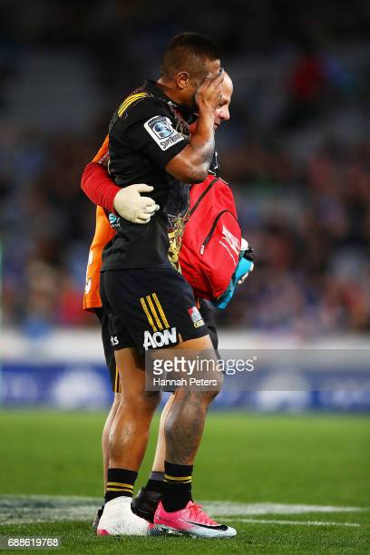 Tim NanaiWilliams of the Chiefs walks off injured during the round 14 Super Rugby match between the Blues and the Chiefs and Eden Park on May 26 2017...