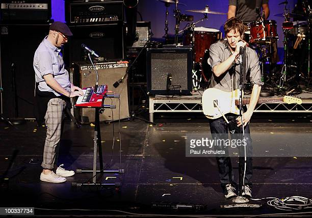 Tim Nordwind Andy Ross of OK Go performs a sound check for the LA Recording Academy and GRAMMY Foundation at The Music Box at the Fonda Hollywood on...