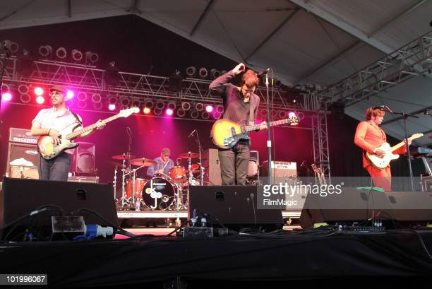 Tim Nordwind Dan Konopka Damian Kulash and Andy Ross of OK Go perform onstage during Bonnaroo 2010 at The Other Tent on June 11 2010 in Manchester...