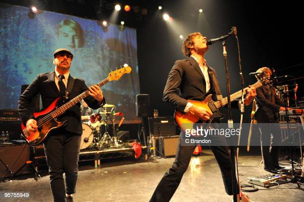 Tim Norwind Damian Kulash and Andy Ross of OK Go perform on stage at Shepherds Bush Empire on January 13 2010 in London England