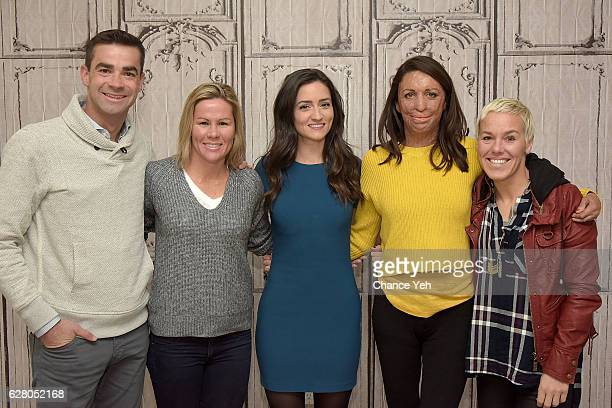 Tim O'Donnell Mirinda Carfrae Jen Ator Turia Pitt and Heather Jackson attend The Build Series to discuss 'Ironman World Championship' at AOL HQ on...