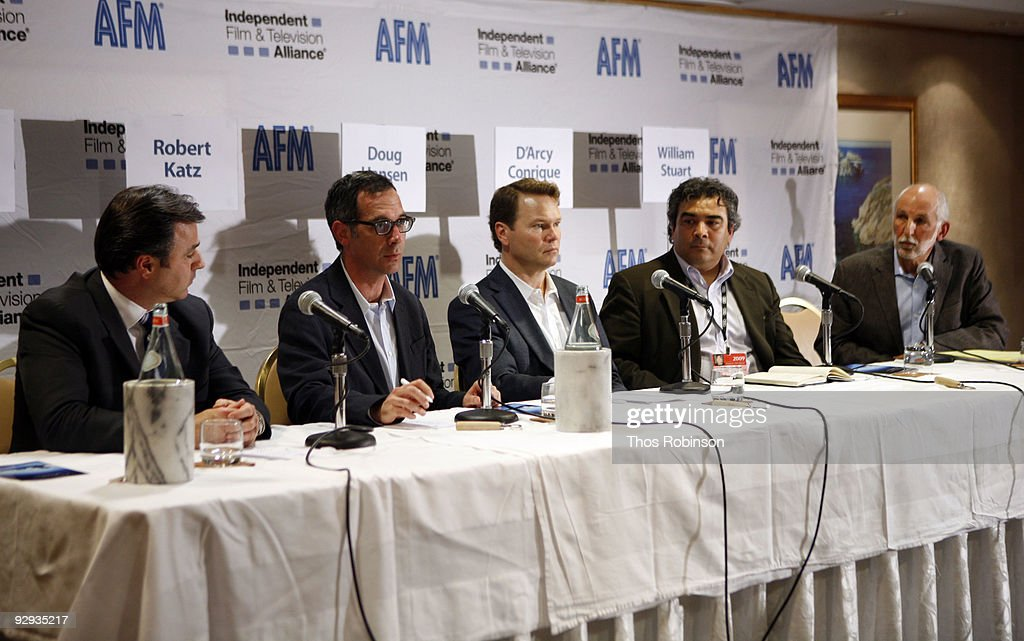 Tim O'Hair, Robert Katz, Doug Hansen, D'Arey Conrique, and William Stuart attend the 2009 American Film Market - Day 6, Case Study: How to Package and Finance Your Independent Project Overseas at the Le Merigot Hotel on November 9, 2009 in Santa Monica, California.