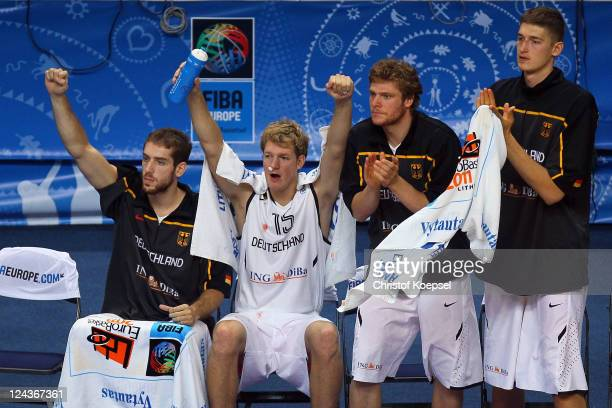 Tim Ohlbrecht JanHendrik Jagla Lucca Staiger and Tibor Pleiss of Germany celebrate the 7367 victory after the EuroBasket 2011 second round group E...