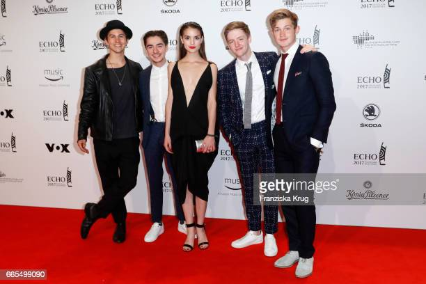 Tim Oliver Schultz Ivo Kortlang Luise Befort Timur Bartels and Damian Hardung attend the Echo award red carpet on April 6 2017 in Berlin Germany