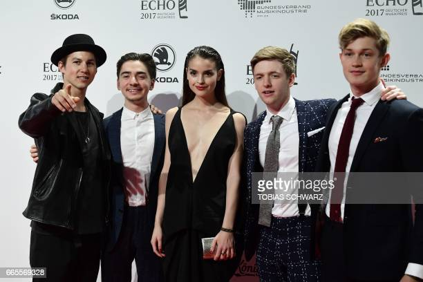Tim Oliver Schultz Ivo Kortlang Luise Befort Timur Bartels and Damian Hardung arrive for the 2017 Echo Music Awards in Berlin on April 6 2017 / AFP...
