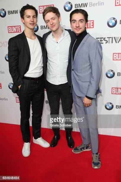 Tim Oliver Schultz Timur Bartels and Ivo Kortlang during the BUNTE BMW Festival Night during the 67th Berlinale International Film Festival Berlin at...