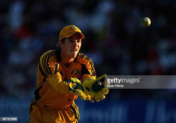 Tim Paine of Australia catches the ball during the 5th NatWest One Day International between England and Australia at Trent Bridge on September 15...