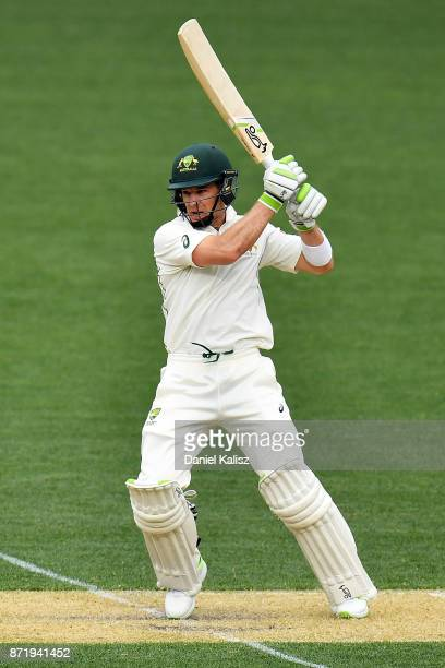 Tim Paine of CA XI bats during day two of the Four Day Tour match between the Cricket Australia XI and England at Adelaide Oval on November 9 2017 in...