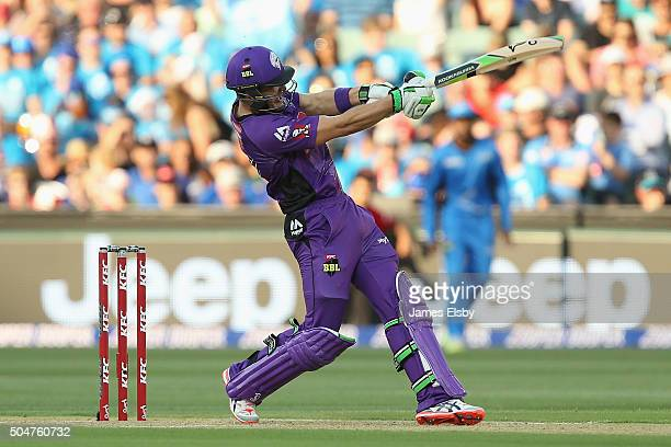 Tim Paine of Hobart hits a six during the Big Bash League match between the Adelaide Strikers and the Hobart Hurricanes at Adelaide Oval on January...