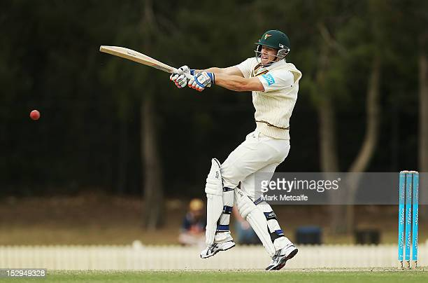 Tim Paine of Tasmania bats during day four of the Sheffield Shield match between the New South Wales Blues and the Tasmanian Tigers at Bankstown Oval...