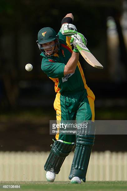 Tim Paine of Tasmania bats during the Matador BBQs One Day Cup match between the Cricket Australia XI and Tasmania at Bankstown Oval on October 10...