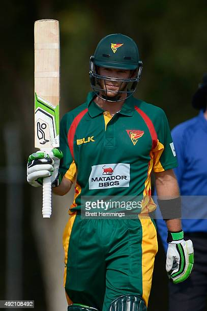 Tim Paine of Tasmania celebrates after reaching his half century during the Matador BBQs One Day Cup match between the Cricket Australia XI and...