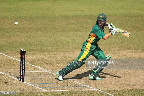 Tim Paine of Tasmania plays a cut shot during the Matador BBQs One Day Cup match between Queensland and Tasmania at North Sydney Oval on October 5...