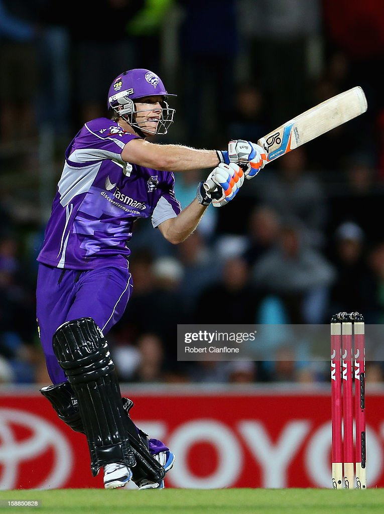 <a gi-track='captionPersonalityLinkClicked' href=/galleries/search?phrase=Tim+Paine&family=editorial&specificpeople=3990549 ng-click='$event.stopPropagation()'>Tim Paine</a> of the Hurricanes bats during the Big Bash League match between the Hobart Hurricanes and the Perth Scorchers at Blundstone Arena on January 1, 2013 in Hobart, Australia.