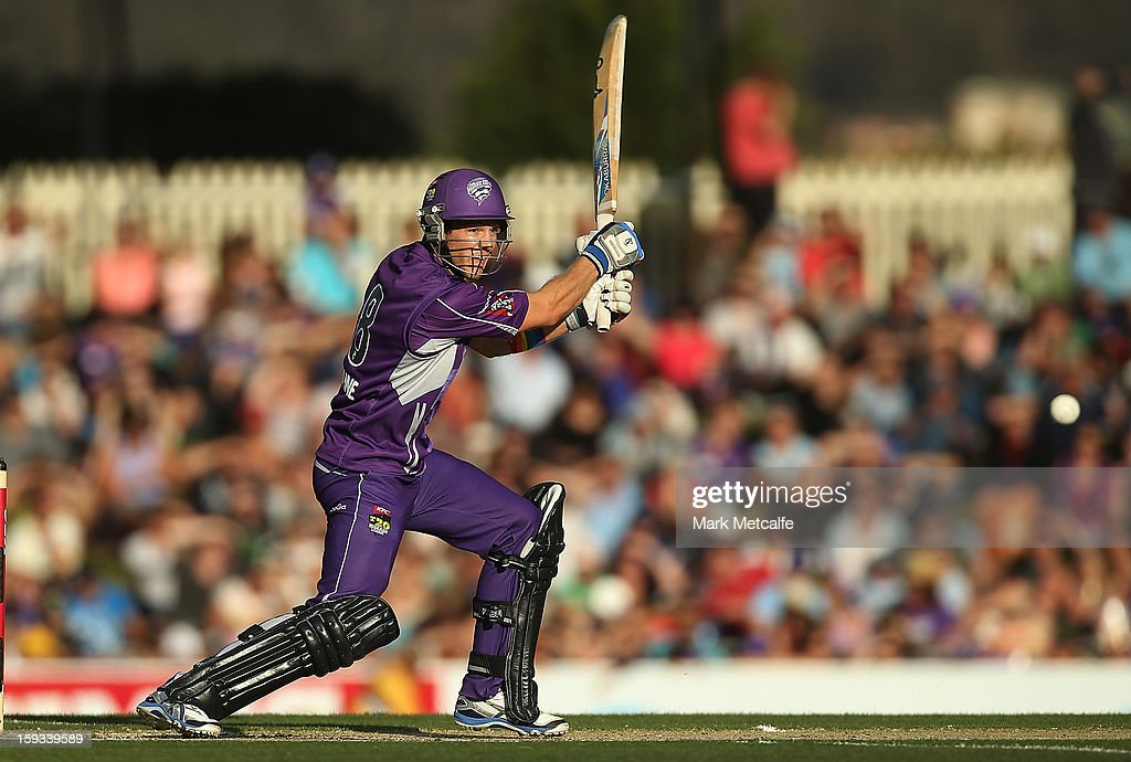 Tim Paine of the Hurricanes bats during the Big Bash League match between the Hobart Hurricanes and the Brisbane Heat at Blundstone Arena on January 12, 2013 in Hobart, Australia.