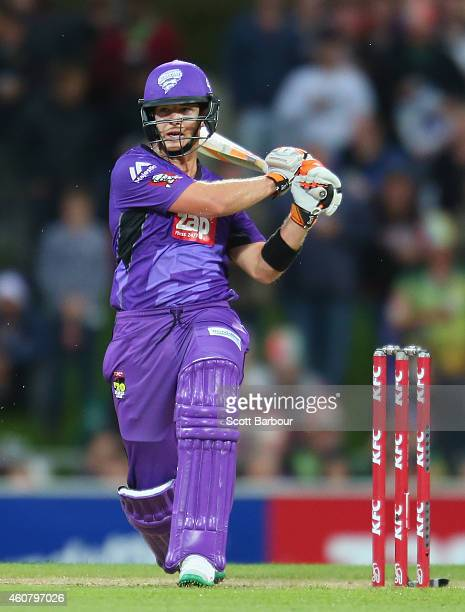 Tim Paine of the Hurricanes bats during the Big Bash League match between the Hobart Hurricanes and the Sydney Sixers at Blundstone Arena on December...