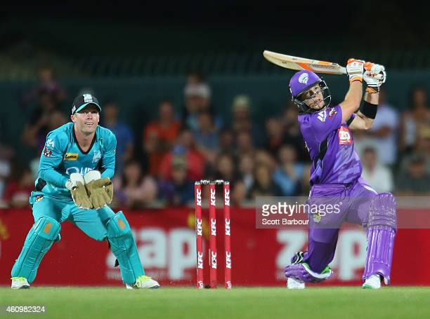 Tim Paine of the Hurricanes bats during the Big Bash League match between the Hobart Hurricanes and the Brisbane Heat at Blundstone Arena on January...