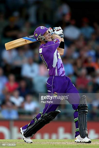 Tim Paine of the Hurricanes bats during the Big Bash League match between the Perth Scorchers and the Hobart Hurricanes at WACA on January 7 2014 in...